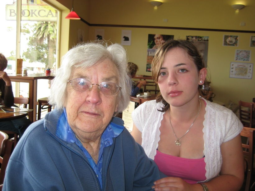 Sitting with my grandmother sporting the newly shortened eyebrow on one of the few days the bruise wasn't noticeable after Big Day Out